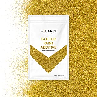 Wellmade Glitter Paint Additive for Wall Paint-Interior/Exterior Wall, Ceiling, Wood, Metal, Varnish, Dead Flat, DIY Art and Craft 150g/5.3oz (10g/Sample, Gold Holographic)