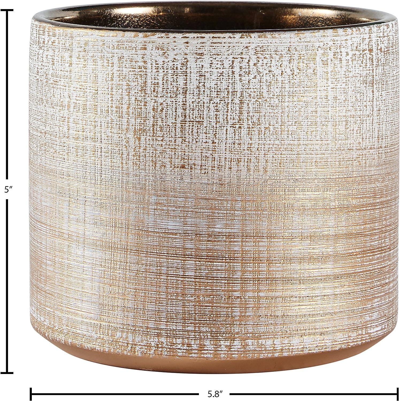 "Brand – Rivet Rustic Stoneware Crosshatch Indoor Outdoor Flower Plant Pot, 5""H, Bronze, Small Planter : Patio, Lawn & Garden"