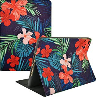 KECC Case for iPad Mini 1/2/3/4/5 Case Smart Cover Protective Multi-Angles Stand Shockproof Case with Auto Sleep/Wake Function for iPad Mini, Mini 5 (2019), Mini 4 (Palm Leaves Red Flower)