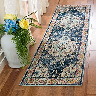 """Safavieh Monaco Collection MNC243N Vintage Bohemian Navy and Light Blue Distressed Runner (2'2"""" x 8')"""