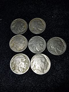 U.S. Buffalo (Indian Head) Nickels - 7 Coin Grab Bag - 7 Different Dates from 1913 to 1938 Nickel Circulated to Fine