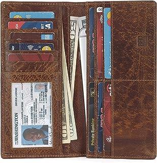 Mou Meraki Men's Vintage Genuine Leather RFID Blocking Long Wallets Bifold Wallet For Men