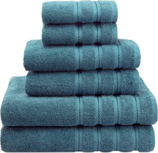 Premium, Luxury Hotel & Spa Quality, 6 Piece Kitchen and Bathroom Turkish Towel Set, Cotton for Maximum Softness and Absorbency by American Soft Linen, [Worth $72.95] (Colonial Blue)