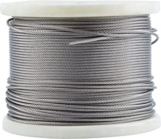 T316-Stainless Steel 1/8'' Aircraft Wire Rope for Cable Railing Kit,Marin Grade (400 FT)