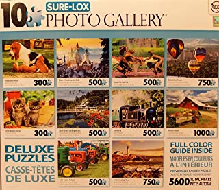 Sure-Lox Collection of 10 Deluxe Puzzles Of an Amazing Photo Art Gallery - 5600 Jigsaw Puzzle Pieces By Various Artists (BLUE BOX)
