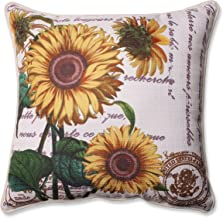 Pillow Perfect Three Sunflowers Corded Throw Pillow, 16.5, Beige