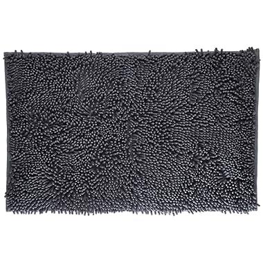 VDOMUS Soft Microfiber Shag Bath Rug, Extra Absorbent and Comfortable, Anti-slip,Machine-Washable Large Bathroom Mat, 32  x 20 , Grey