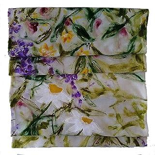 Panel de flores pintadas único. Camino de mesa o panel decorativo de lino,ideas de decoración de BeccaTextile.