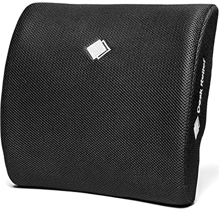 Desk Relief® Lumbar Support Cushion - Memory Foam Back Support Pillow to Relieve & Prevent Back Pain and Improve Posture - For Office Chair, Home, Car - FREE Posture Reminder APP