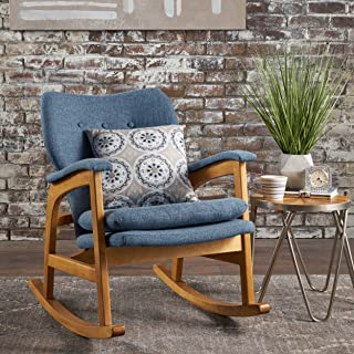 Christopher Knight Home Bethany Mid Century Fabric Rocking Chair (Muted Blue)