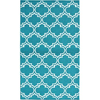 Garland Rug Silhouette Area Rug, 5 by 7-Feet, Teal/White