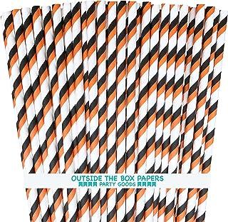 ماصات ورقية لعيد القديسين - شريط - 100 حزمة - أسود وبرتقالي أبيض خارج الصندوق العلامة التجارية أوراق