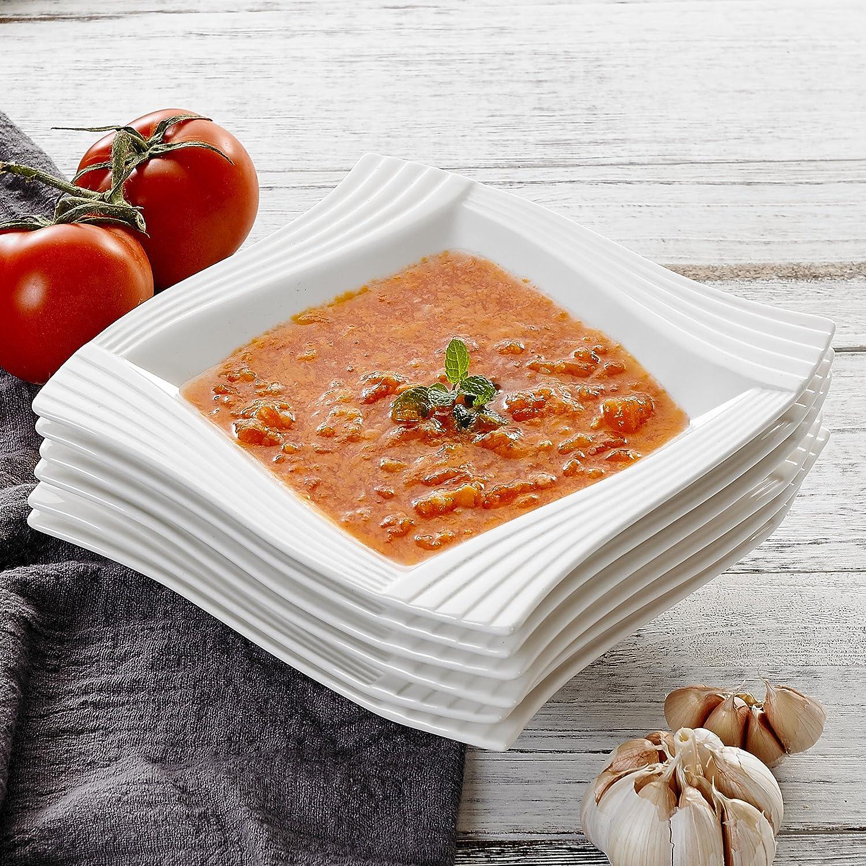 MALACASA, Série Amparo, 24pcs Assiettes Creuses Porcelaine, Assiettes à Soupe Pate Vaisselles pour 24 Personnes