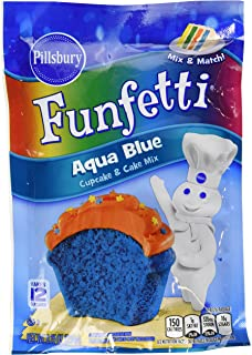 Pillsbury Funfetti Cupcake and Cake Mix 8.25oz Pouch (Pack of 6) Select Color Below (Aqua Blue)