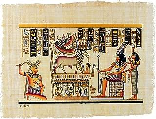 "Leolana Egyptian Papyrus ""Khnum & Uraeus"" Hand Painted Painting on 100% Authentic Egyptian Papyrus Paper-13x17-Black & Gold"