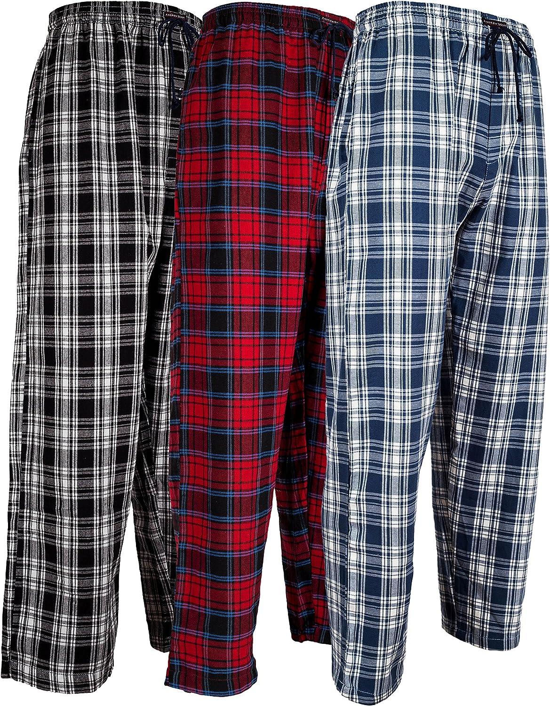 Andrew Scott Men's 3 Pack Cotton Flannel Fleece Brush Pajama Sleep & Lounge Pants