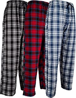 Men's 3 Pack Cotton Flannel Fleece Brush Pajama Sleep &...