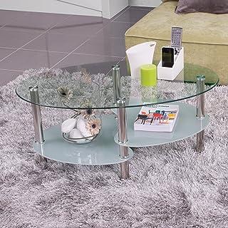 Homely - Mesa de Centro Ainara con revistero y Tapa de Cristal Ovalada 90x55 cm