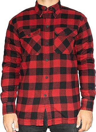 BRUBAKER Camisa de protección para Moto - Forro Interior Aramida y Bolsillos para Protectores - Estilo Lumberjack - Cuadros Rojo-Negro