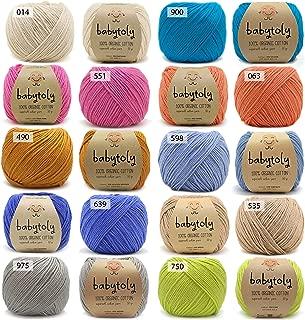 10 Skein (Pack) 100% Organic Cotton GOTS Certified Yarn Each 1.76 Oz (50g) / 115 Yrds (105m) Super Soft, Pure Natural Eco Baby Fiber, Organic Cotton Yarn, DK Medium Worsted