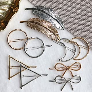 Cholet Minimalist Hair Clips, Fashion Hair Accessories for Women, Girls - 10pcs - Big Hollow Geometric Alloy Hairpin Clamps Clips - For Styling, Party, Birthday, Bridal Snap Clips – Multiple Style