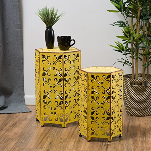 Set Of 2 Utica Antique Style Yellow Accent Table
