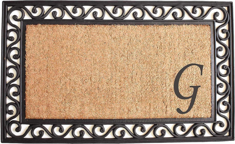 Home & More 104021830G Versailles Monogram Doormat 18  x 30 , Natural Black, (Letter G)