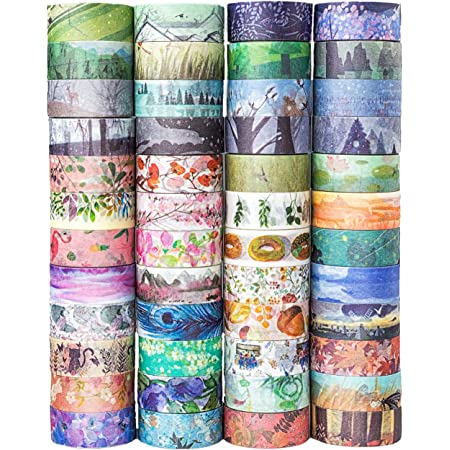 48 Rolls Washi Tape Set,Decorative Masking Adhesive Tape for DIY Crafts and Gift Wrapping,Beautify Bullet Journals ,Planners by KOVANO