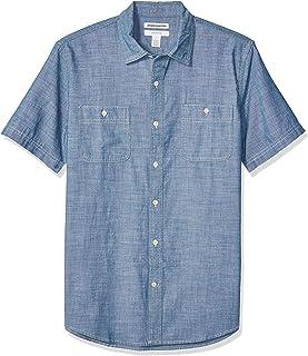 Amazon Essentials - Camisa de cambray con manga corta y corte entallado para hombre