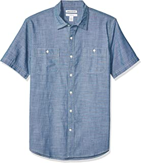 Amazon Essentials Men's Slim-fit Short-Sleeve Chambray Shirt