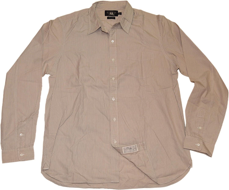 Ralph Lauren Polo Double RL RRL Mens Button Down Shirt Striped Beige Brown XL