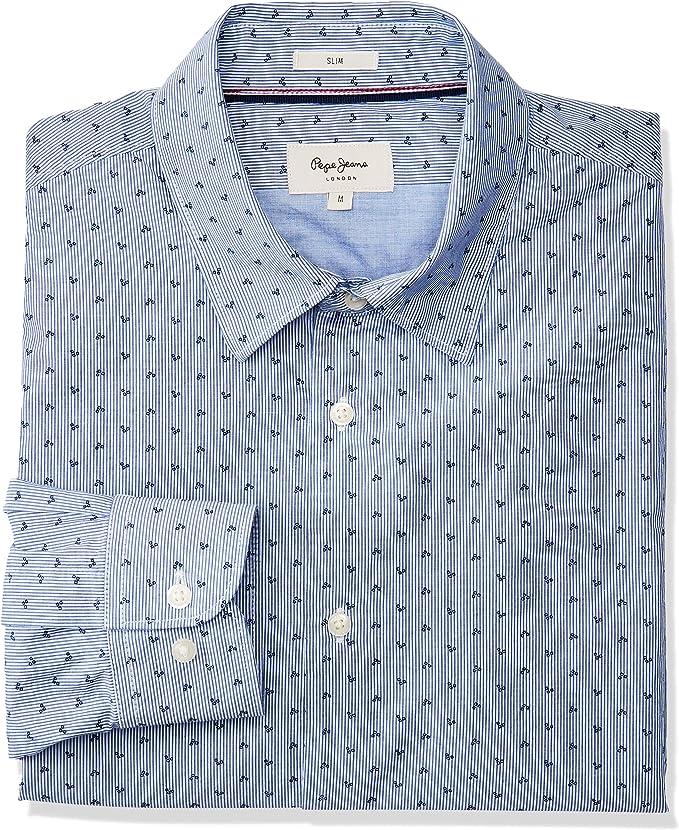 Pepe Jeans Camisa Azul Topos para Hombre
