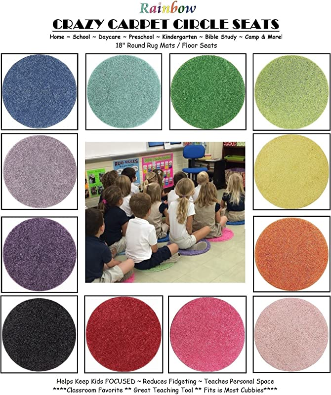 24 Rainbow Kids Crazy Carpet Circle Seats 18 Round Soft Warm Floor Mat Cushions Classroom Story Time Group Activity Time Out Spot Marker And Fun Home Bedroom Play Areas