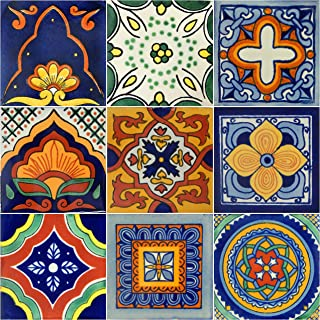 Color y Tradicion 9 Mexican Tiles 4 x 4 Hand Painted Hallowen Talavera Day of The Dead Dia de Muertos C399 9-4x4 C399