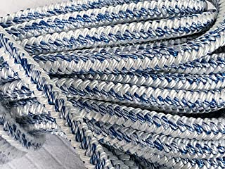 3/4 Inch by 100 Feet 12 Carrier 24 Strand Arborist Bull Rope White Blue