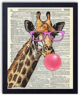Giraffe in Pink Glasses Blowing Bubble Vintage Wall Art Upcycled Dictionary Art Print Poster 8x10 inches, Unframed