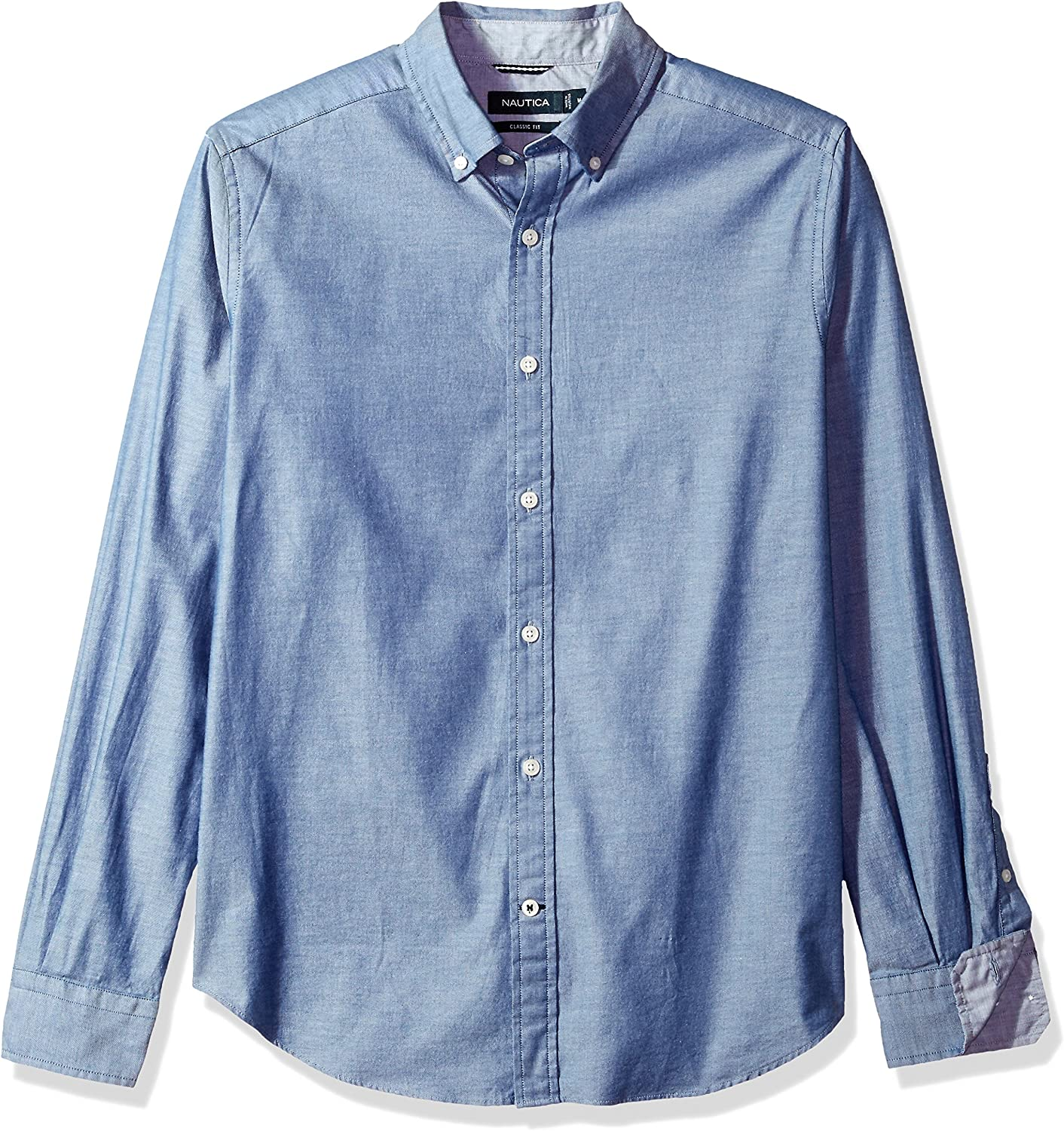 Nautica Men's Long Sleeve Slim Fit Solid Stretch Twill Button Down Shirt