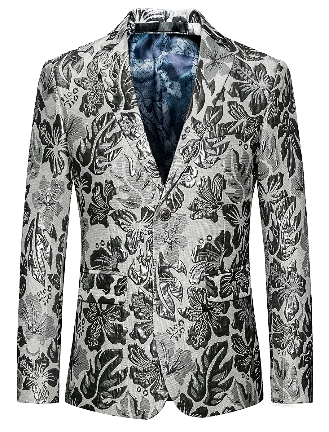 MOGU Mens Blazer Cream Large Size Printed Slim Fit Sport Coat