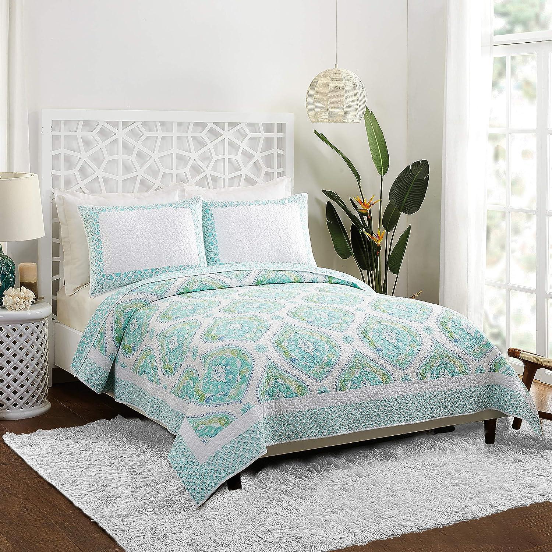 Dena Home Bohemian Breeze Quilt Aqua Full Long Beach Mall Queen Safety and trust Set