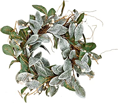 "Worth Imports 22"" Magnolia Leaves Wreath w/White Berries"