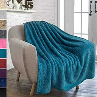 PAVILIA Plush Sherpa Throw Blanket for Couch Sofa | Fluffy Microfiber Fleece Throw | Soft, Fuzzy, Cozy, Lightweight | Solid Blue Turquoise Blanket | 50 x 60 Inches