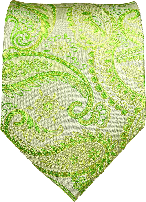 Paul Malone Extra Long Necktie 100% Silk Green Paisley