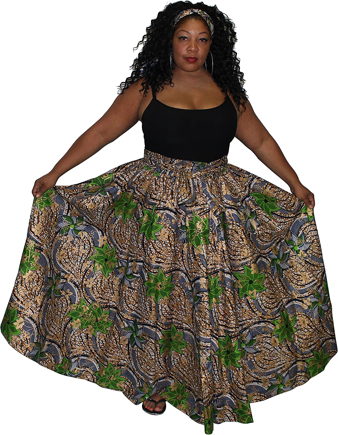African Planet Women's Wax Elastic Waist Flared Skirt Ankara One Size with Bow Tie