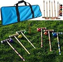 Hey! Play! Croquet Set- Wooden Outdoor Deluxe Sports Set with Carrying Case- Fun Vintage Backyard Lawn Recreation Game, Ki...