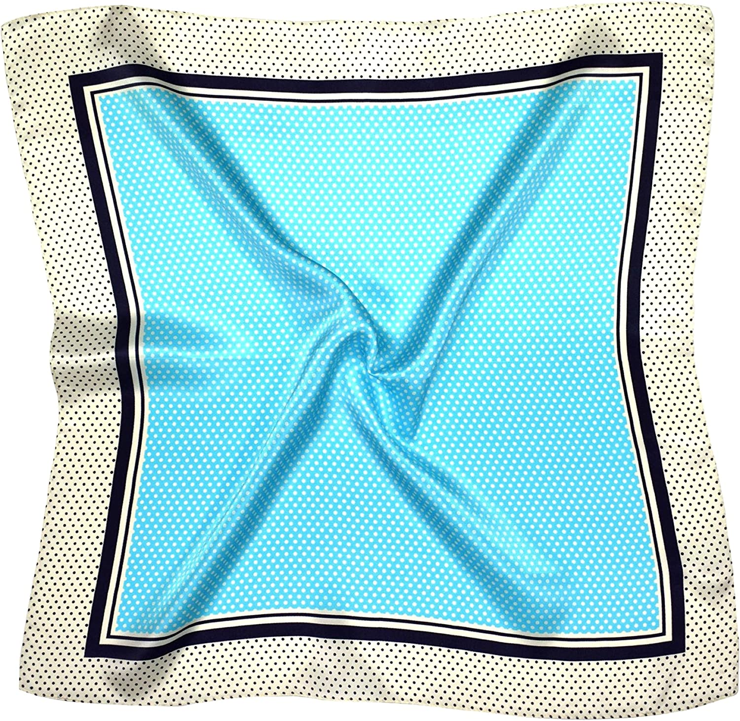 bluee Spot Print Thick Small Silk Square Scarf