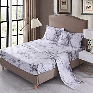 Mengersi Marble Sheet Set - White Luxury Hotel Bed Sheets - Extra Soft - Deep Pockets - 1 Fitted Sheet, 1 Flat, 2 Pillow Cases - 4 Piece (Queen, White)