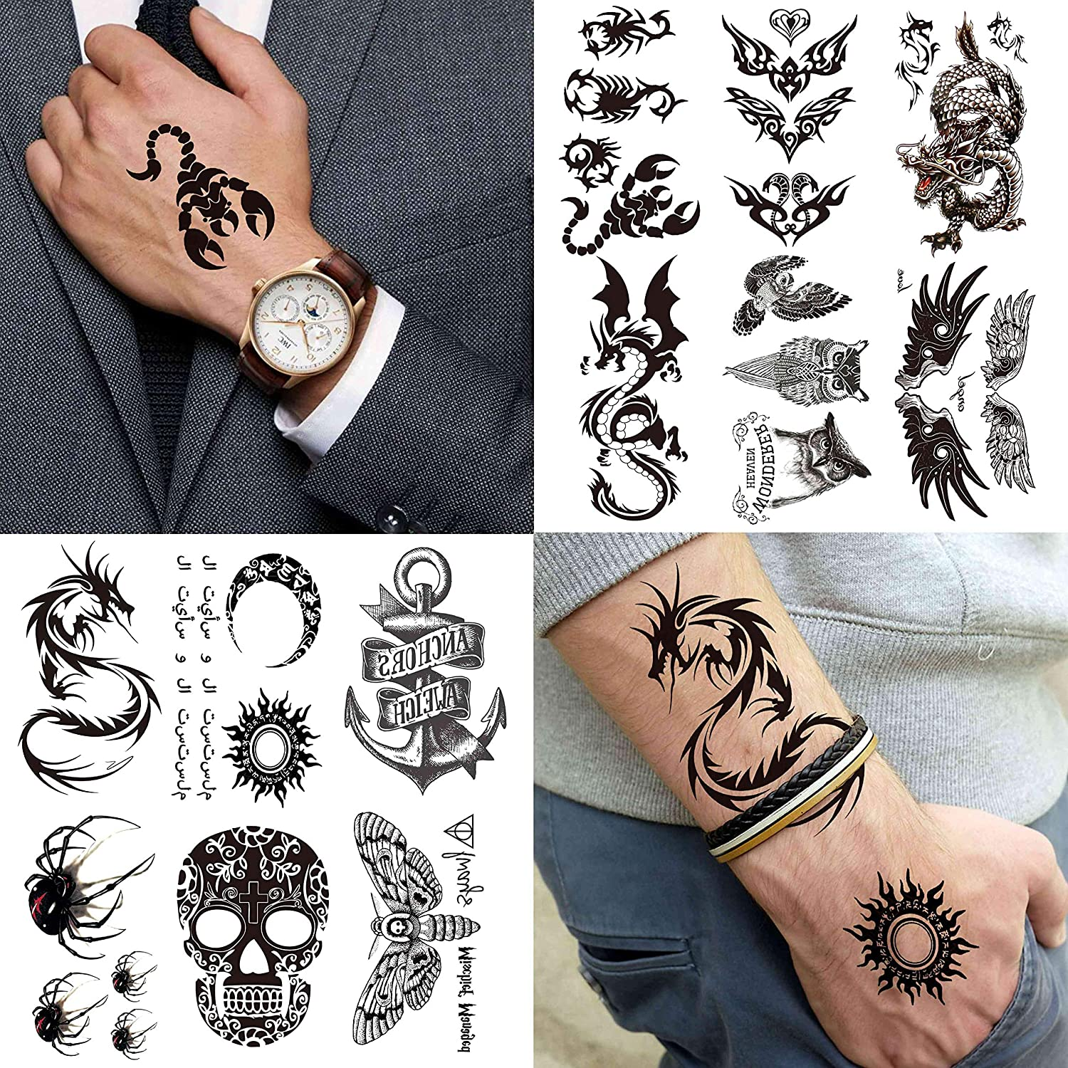 VANTATY 20 Sheets 20D Small Black Temporary Tattoos For Women Men Waterproof  Fake Tattoo Stickers For Face Neck Arm Children Tattoo Temporary Flower ...