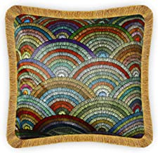 Seamless Embroidery Simulated Printing Cushion Cover, Printed Velvet Throw Pillow Case, Decorative Pillow Cover with Fring...