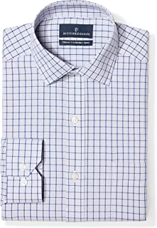 "Buttoned Down Men's Tailored Fit Spread-Collar Pattern Non-Iron Dress Shirt, Grey/Blue Windowpane Check, 20"" Neck 39"" Sleeve (Big and Tall)"