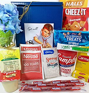 Get Well Gift Box Basket - For Cold/Flu/Illness - Over 2.5 Pounds of Care, Concern, and Love - Great Care Package - Send a Smile Today!